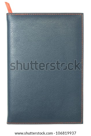 leather notebook isolated on white with clipping path - stock photo