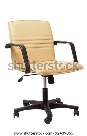 leather office chair on wheels on white - stock photo
