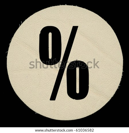 Leather percent on a black isolated background. - stock photo
