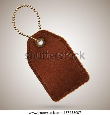 Leather price tag illustration - raster version - stock photo