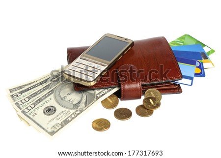 Leather purse with banknotes, coins, credit cards and mobile phone isolated on white background - stock photo