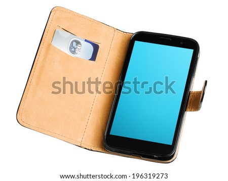 Leather purse with credit card and mobile phone isolated on white background - stock photo