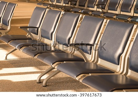 Leather seats at waiting lounge for interior design background with selective soft focused point - stock photo