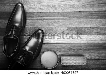Leather Shoes on Wood Background black and White Style, Men fashion - stock photo