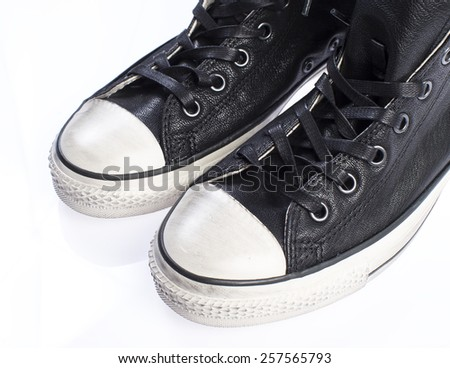 Leather sneakers for men isolated on white - stock photo
