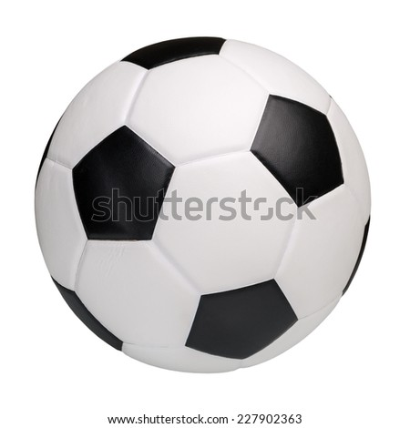 Leather soccer ball isolated on white background - stock photo