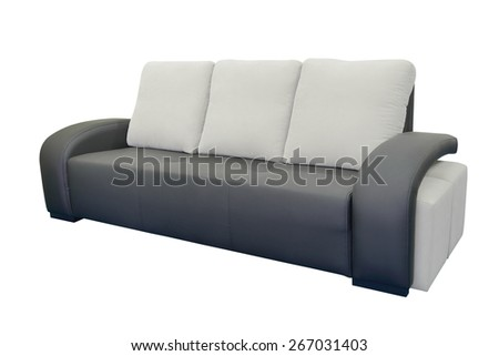 leather sofa isolated on a white background - stock photo
