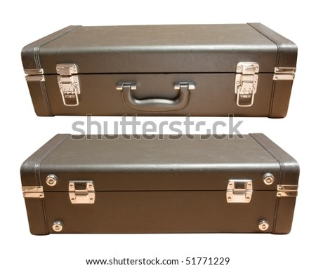 leather suitcase front and back isolated - stock photo