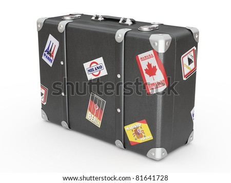 Leather suitcase on white isolated background. 3d - stock photo