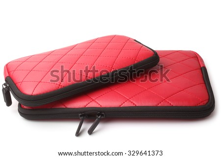 Leather tablet computer cases on white background - stock photo