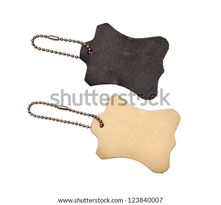 leather tags on white background - stock photo