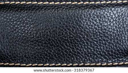 Leather texture close-up with linear stiches - stock photo