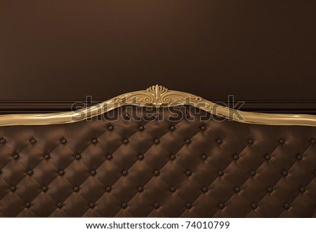 Leather Textured back of sofa with golden frame - stock photo