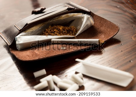 Leather Tobacco Pouch - stock photo