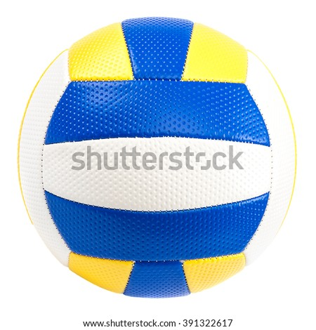 Leather volleyball ball isolated on white background. - stock photo