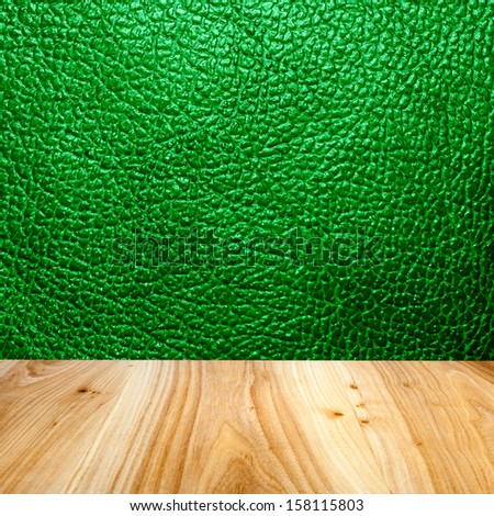 leather wall with wood floor texture interior - stock photo