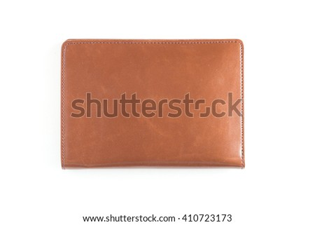 Leather wallet isolated on white background. - stock photo
