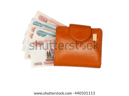 Leather wallet with money isolated on white background. Wallet with ruble bills. With clipping path. - stock photo