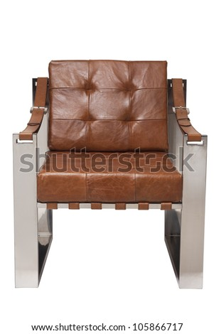 leather with stainless armchair isolated on white - stock photo