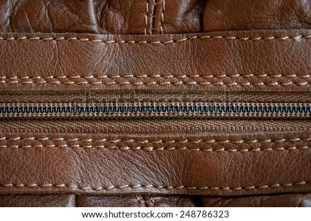 leather with zipper texture (close up) - stock photo