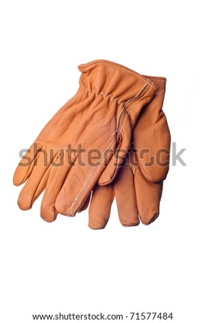 leather work gloves on white - stock photo