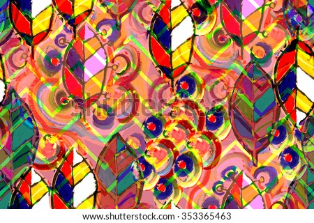 Leaves abstract pattern seamless with modern art idea. Red artistic watercolor painting handmade modern art. Excellent artwork design. Colorful leaf pattern on a zigzag ornament. Ethnic pattern. - stock photo