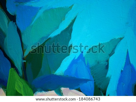 leaves against the blue sky, painting by oil on canvas, illustration  - stock photo