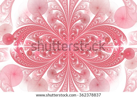 Leaves and seeds. Abstract monochrome floral ornament on white background. Symmetrical pattern. Stylish fractal design in pink and red colors. - stock photo