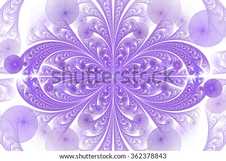 Leaves and seeds. Abstract monochrome floral ornament on white background. Symmetrical pattern. Stylish fractal design in violet color. - stock photo