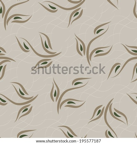 Leaves. Foliage. Seamless pattern. Grey background. - stock photo