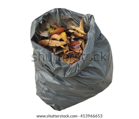 leaves in bag garbage on white background - stock photo