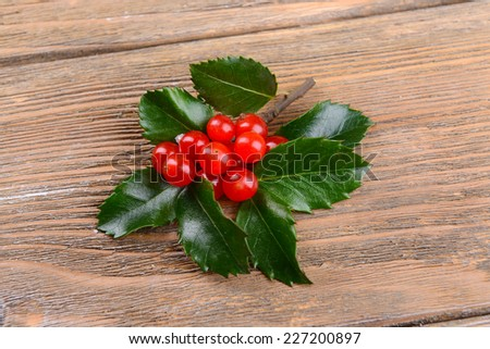 Leaves of mistletoe with berries on wooden background - stock photo