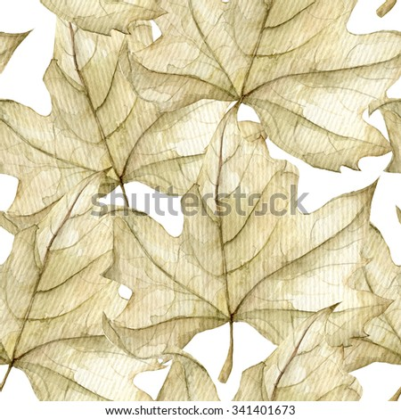 Leaves seamless pattern on white. Watercolor composition for cards, invitations, wedding invitations and other printed materials. - stock photo