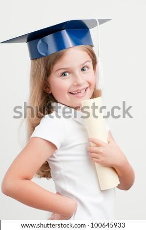 Leaving the school - best schoolgirl with certificate - stock photo