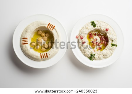 Lebanese food of Hommos & Mtabbal Isolated on White  - stock photo