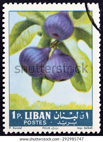 "LEBANON - CIRCA 1962: A stamp printed in Lebanon from the ""Fruits "" issue shows figs (Ficus carica), circa 1962.  - stock photo"