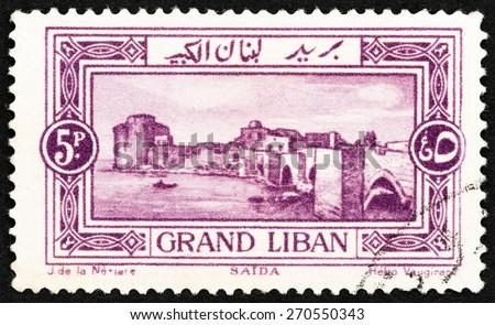 LEBANON - CIRCA 1925: A stamp printed in Lebanon shows Sea Castle, Sidon, circa 1925.  - stock photo
