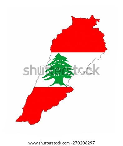 lebanon country flag map shape national symbol - stock photo