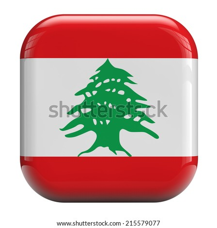 Lebanon flag isolated symbol icon. - stock photo
