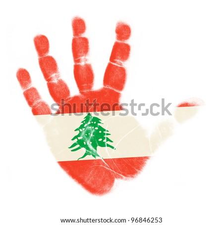 Lebanon flag palm print isolated on white background - stock photo