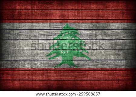 Lebanon flag pattern on wooden board texture ,retro vintage style - stock photo