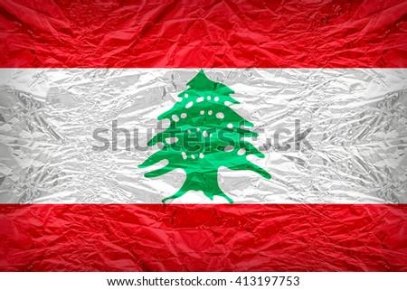 Lebanon flag pattern overlay on floyd of candy shell, vintage border style - stock photo