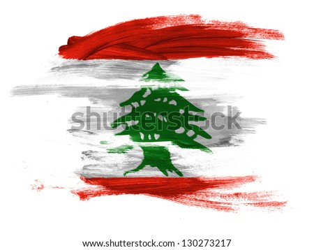 Lebanon. Lebanese flag  painted on white surface - stock photo