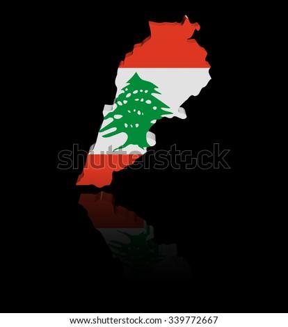 Lebanon map flag with reflection illustration - stock photo