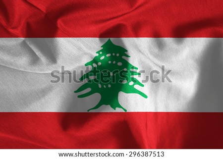 Lebanon national flag background fabric texture - stock photo