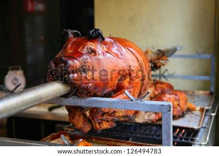 lechon roasted pig - stock photo
