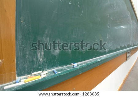lecture board shot with wide angle lens - stock photo
