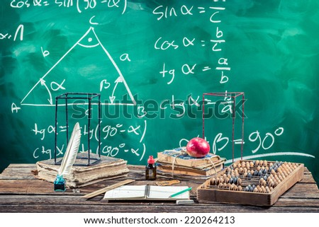 Lecture of trigonometry in school - stock photo