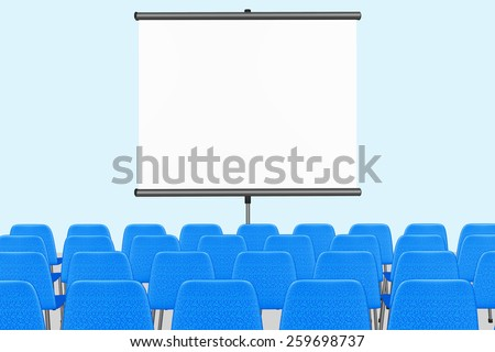 Lecture room with chairs and screen - stock photo