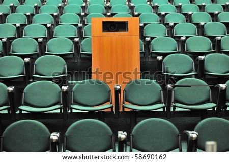 Lecture theater seating. For concepts such as school and education, business and training, and meetings and conferences. - stock photo